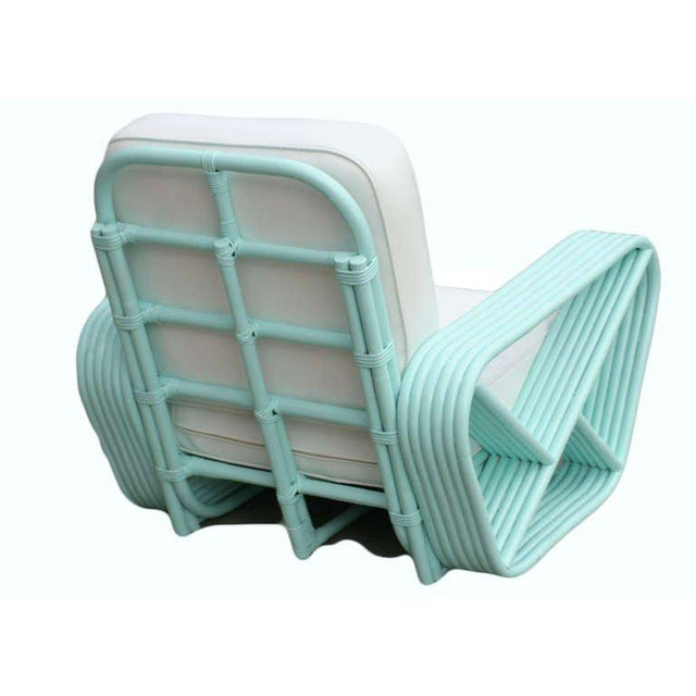 1930s Restored Teal Square Pretzel Stacked Rattan Armchairs in Style of Paul Frankl For Sale - Image 5 of 7