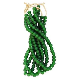Emerald-Green Glass Bead Strands - Set of 4