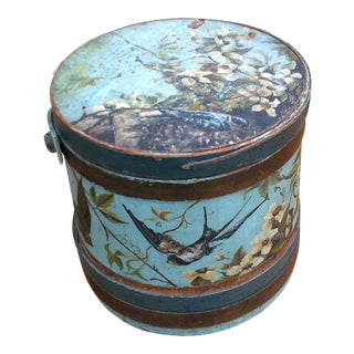 Antique Blue English Firkin For Sale