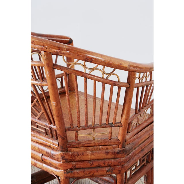 Set of Four Brighton Pavillion Style Bamboo Armchairs For Sale - Image 9 of 13