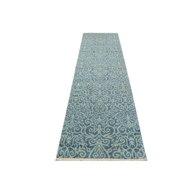 "Textile Kafkaz Peshawar Cyrena Lt. Blue/Lt. Green Wool Runner - 2'5"" X 9'9"" For Sale - Image 7 of 8"