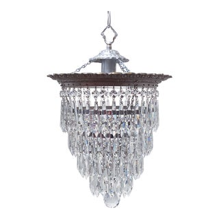 Italian Silver Upside Down Layered Cake Chandelier For Sale