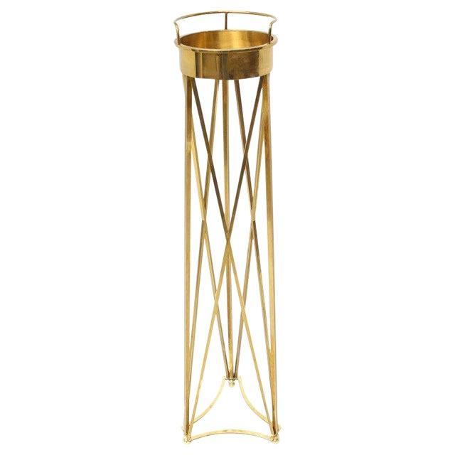 Mid-Century Modern Tall Braised Brass Plant Holder Pedestal For Sale - Image 9 of 9
