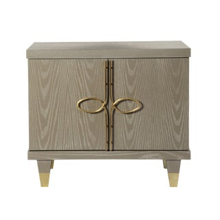 Chloe Nightstand With Doors (Cerused Latte) For Sale