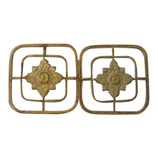 Embossed Floral Metal Wall Medallions - a Pair For Sale
