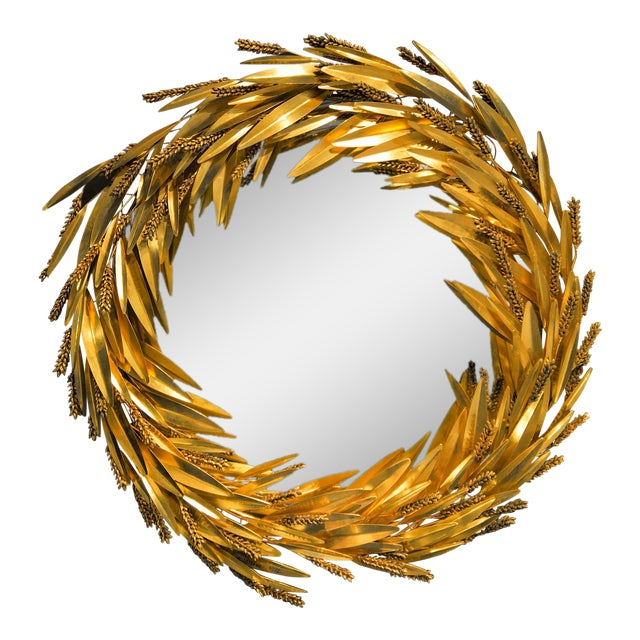 Crown of Wheat Mirror in Bronze and Brass by Robert Goossens, Circa 1970 For Sale