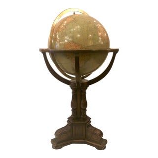 Antique American Rand McNally Standing Globe, Circa 1920. For Sale