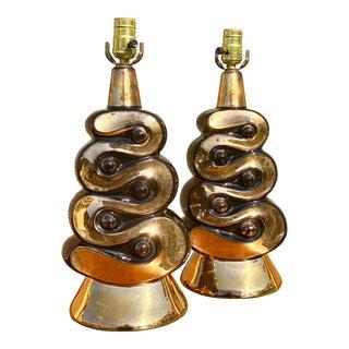 Midcentury Atomic Ceramic ZigZag Lamps - a Pair For Sale