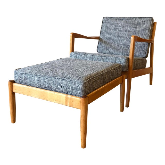 Folke Ohlsson for Dux - Danish MCM Arm Chair With Ottoman For Sale
