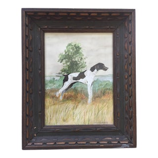 Original Pointer Dog Signed Watercolor Painting For Sale
