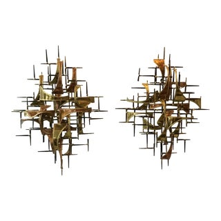 1980s Jere Style Copper And Brass Wall Sculptures - A Pair For Sale
