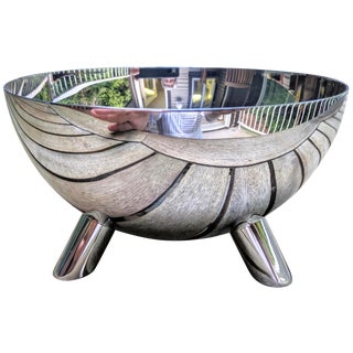 Modernist Chrome Half-Sphere Dish With Tripod Base For Sale