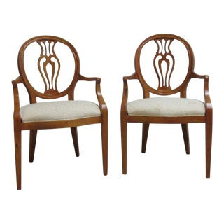 Henredon French Pierce Carved Balloon Chairs - A Pair