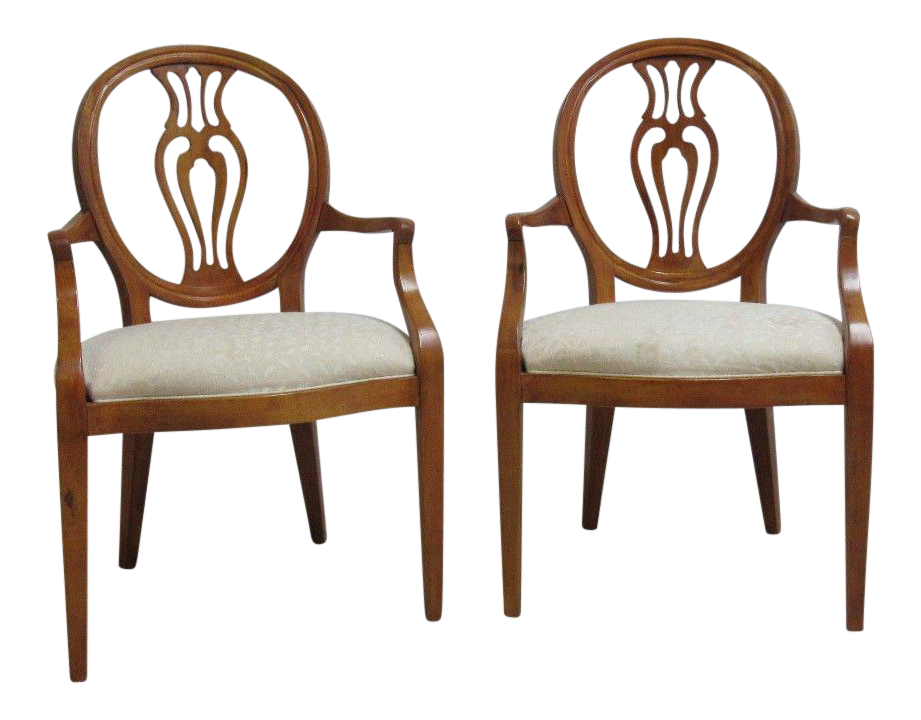Henredon French Pierce Carved Balloon Chairs   A Pair