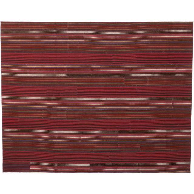 Late 20th Century Late 20th Century Vintage Turkish Jajim Kilim Flat-Weave Rug - 9′9″ × 12′5″ For Sale - Image 5 of 6