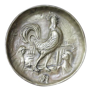 Antique Art Nouveau Brass Pin Dish/Jewelry Dish Depicting a Rooster For Sale
