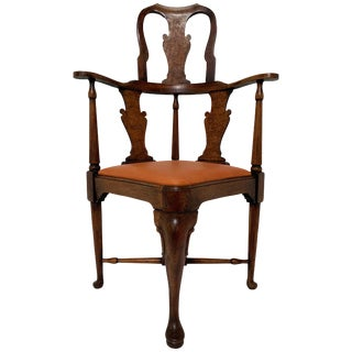 Antique 18th Century Queen Anne High-Back Corner Chair For Sale