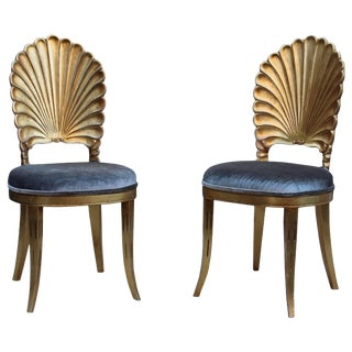 Italian Shell Back Gold Leaf Side Chairs For Sale
