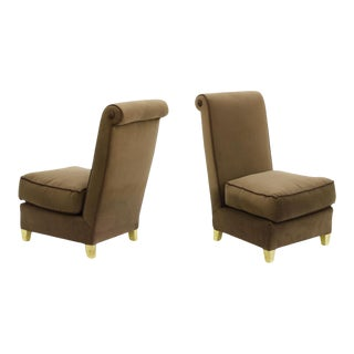 Maison Jansen Chicest Pair of Slipper Chairs Newly Reupholstered in Velvet For Sale