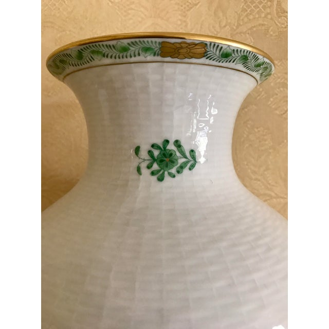 Asian Herend Porcelain Green Chinese Bouquet Vase For Sale - Image 3 of 5