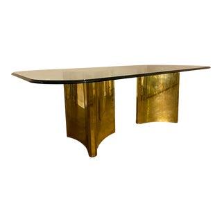 1970s Mastercraft Trilobi Brass Pedestal Base Glass Dining Table