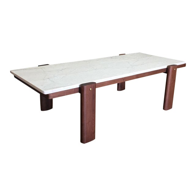 Walnut & Marble Coffee Table - Image 1 of 9