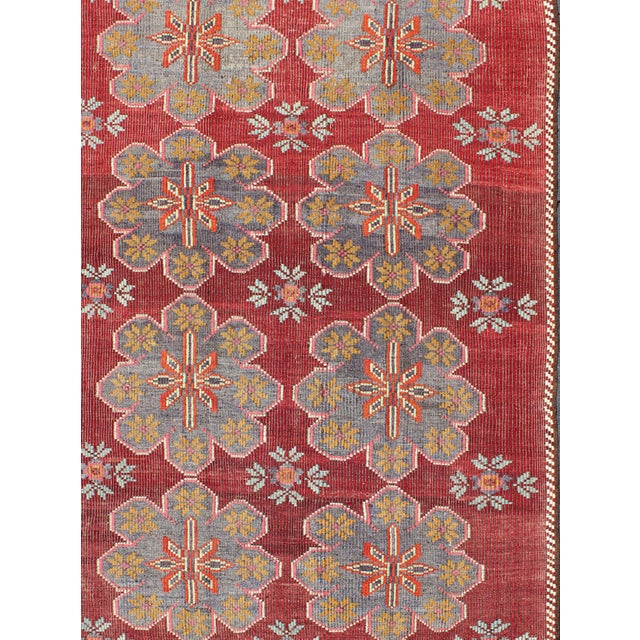 Keivan Woven Arts, TU-Ned-559, Vintage Turkish Embroidered Kilim Rug in Wine Red, Steel Blue, Pink Vintage Turkish...
