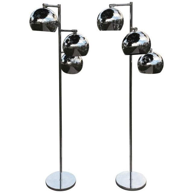 Koch & Lowy Chrome Ball Floor Lamps - A Pair For Sale - Image 11 of 11