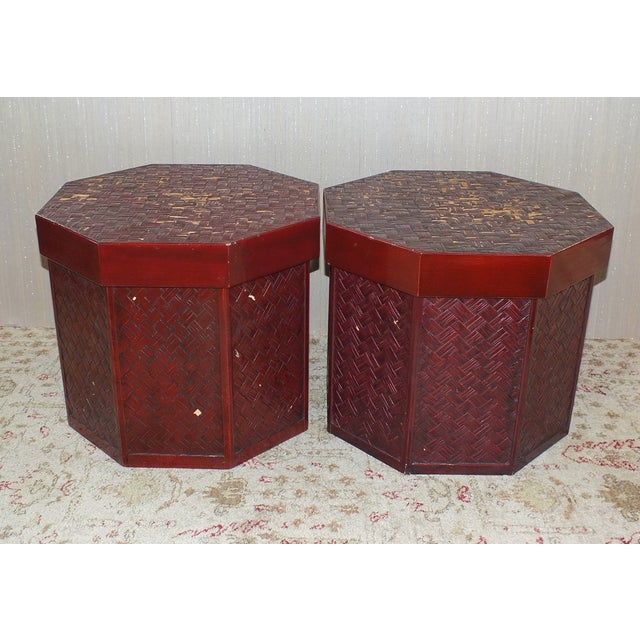 "Antique 16"" Tall Chinese Red Storage Stools - Image 3 of 11"