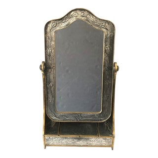 Circa 1900 English Art Nouveau Arts and Crafts Hammered Metal Vanity Standing Mirror For Sale