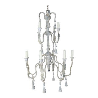 2-Tier Painted Cream Colored Chandeliers With Tassels by Melissa Levinson For Sale