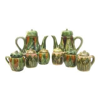 French Majolica Hot Beverage Service, Set of 8 For Sale