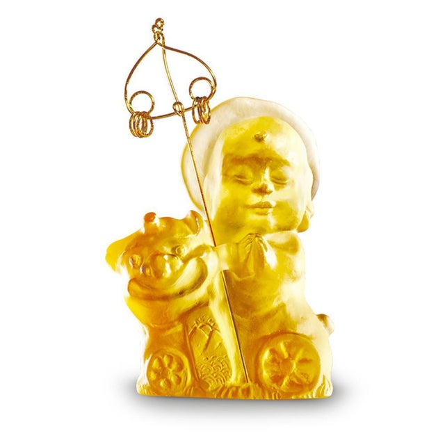 """Contemporary Crystal Buddha, """"Joyous and Worry-Free, Safe Travels"""" in Amber For Sale - Image 3 of 3"""