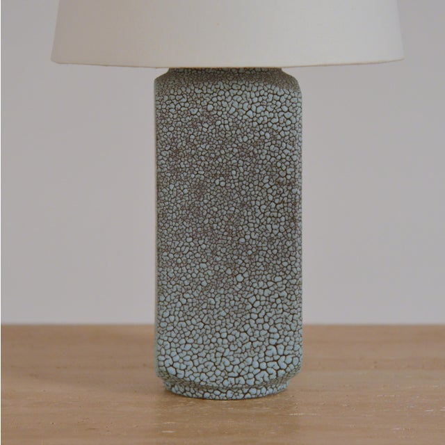 1930s Art Deco Shagreen Glaze Ceramic Lamp With Parchment Shade For Sale - Image 5 of 11