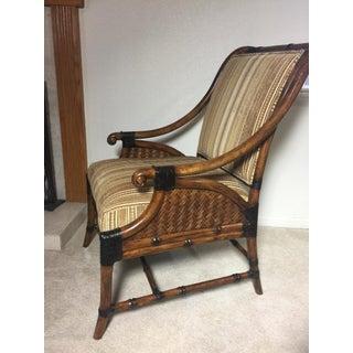 Modern Cane Rattan and Velvet Upholstered Chair Preview