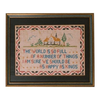 1933 Framed Cross Stitch Art For Sale
