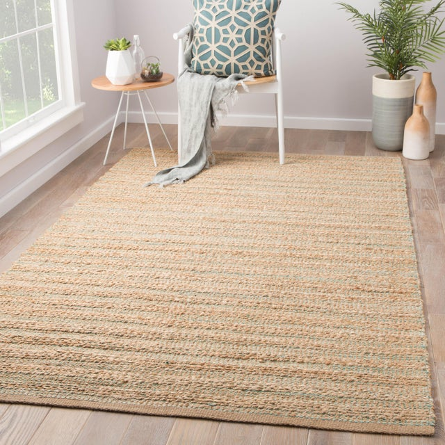 2010s Jaipur Living Canterbury Natural Solid Tan & Green Area Rug - 5' X 8' For Sale - Image 5 of 6