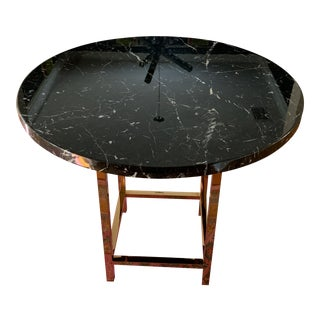 Hollywood Regency Marble and Gold Accent Table For Sale