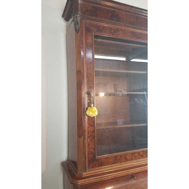 19th Century English Mahogany Wood Bookcase With Secretaire For Sale - Image 6 of 12
