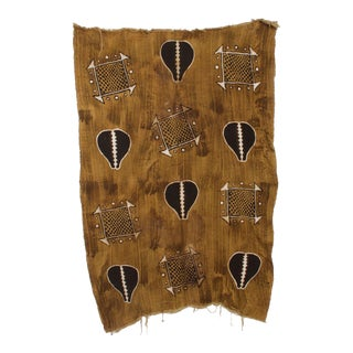 Vintage African Art Handwoven Kuba Cloth Ceremonial Blanket Wall Tapestry Congo For Sale