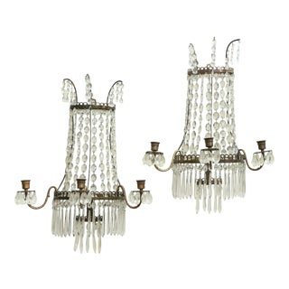 Pair of Beaded Crystal Waterfall Wall Lights For Sale