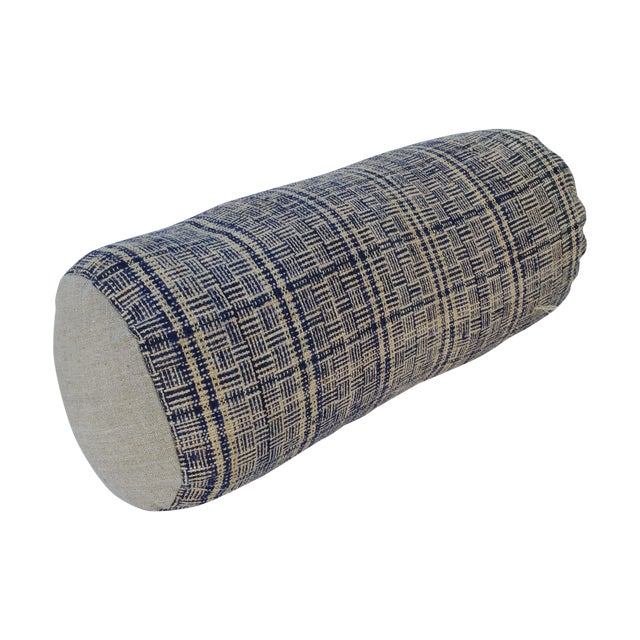 Tribal Indigo Plaid Neck Pillow - Image 1 of 4