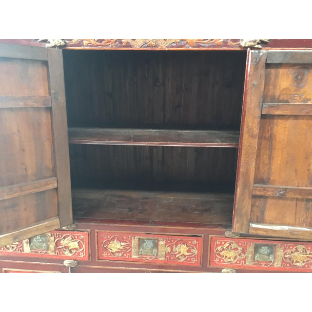 Wood Antique Carved Asian Cabinet For Sale - Image 7 of 13