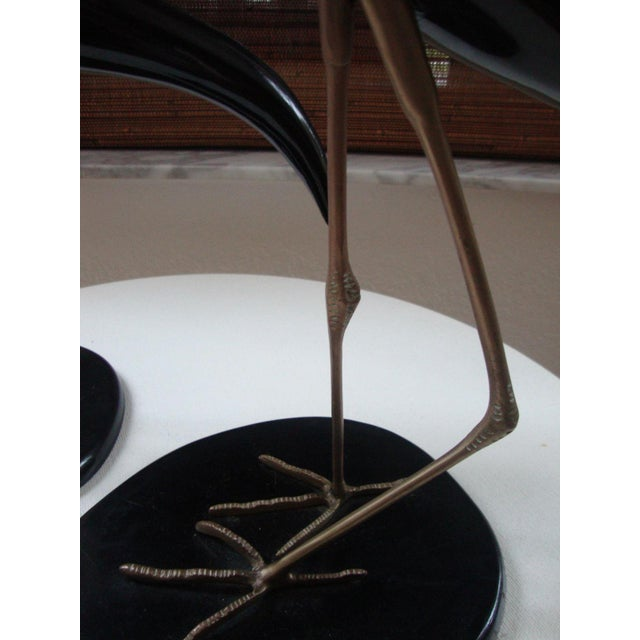 Brass MCM Extraordinary Lacquered & Brass Legs on Stand / Cranes - a Pair For Sale - Image 7 of 7