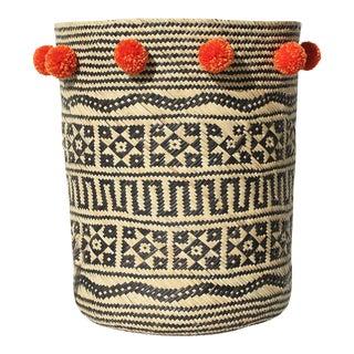 Borneo Tribal Drum Basket - with Ginger Pom-poms