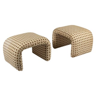 1970s Vintage Milo Baughman Style Waterfall Benches- a Pair For Sale