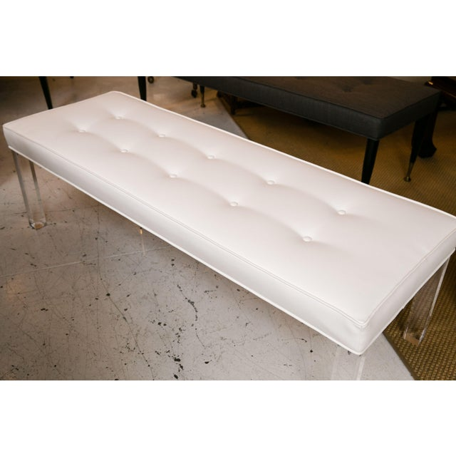 Mid-Century Lucite Tufted White Vinyl Bench For Sale - Image 4 of 6