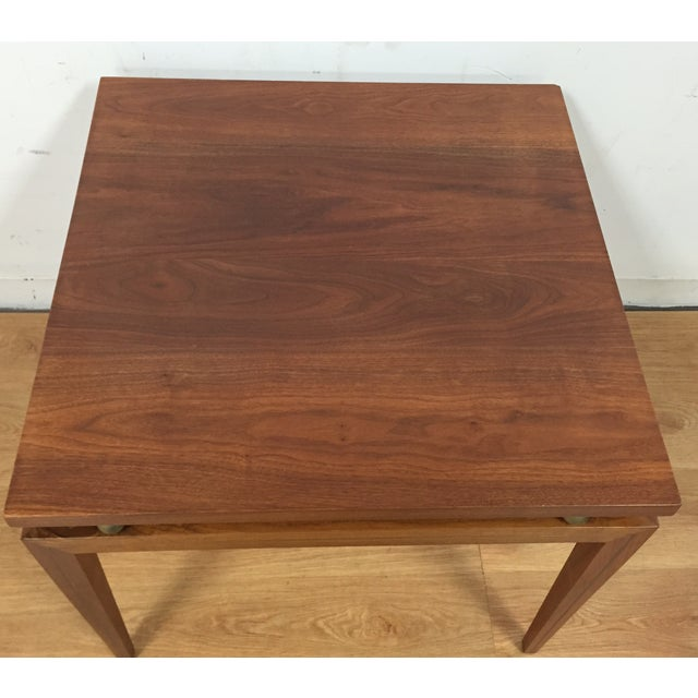 Mid-Century Solid Walnut & Brass Side Table - Image 5 of 11