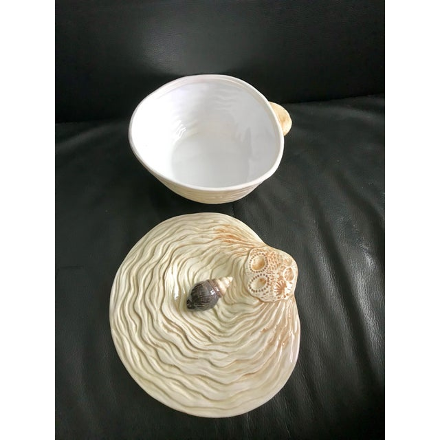 Large Hand Painted Ceramic Clam Shape Covered Dish / Tureen With Shell Handle For Sale - Image 4 of 6