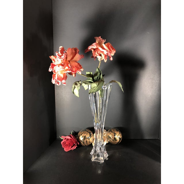 """Glass Mikasa 12"""" Tall Pacific Wave Candle Holders Traditional Taper/Vases Crystal - Set of Two For Sale - Image 7 of 13"""